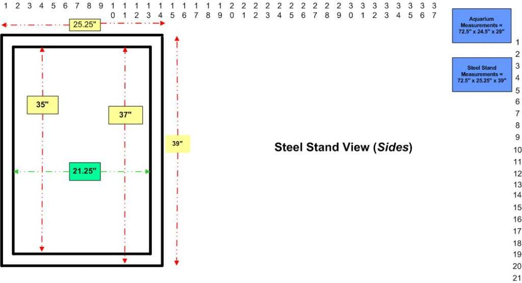 210-gallon reef system designs.  (Steel stand sides)
